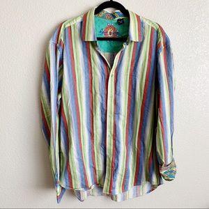 Robert Graham Men's Button Up Striped Paisley 2XL